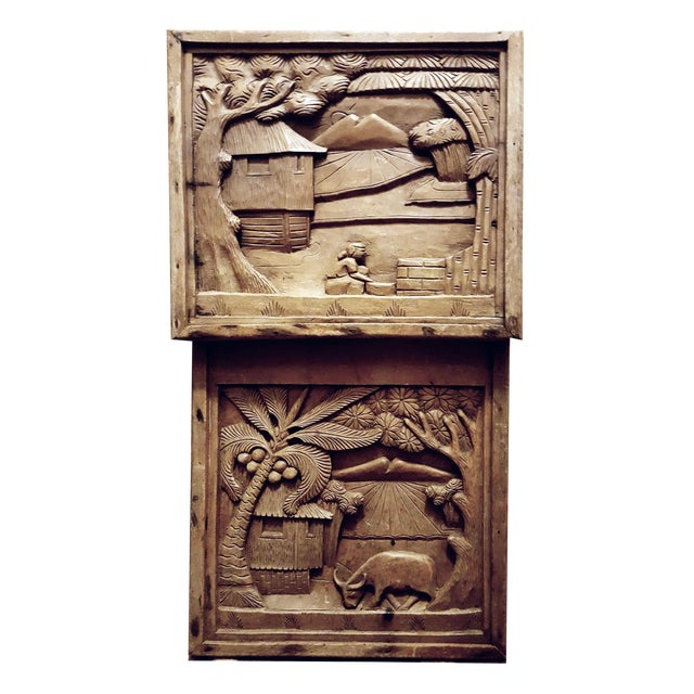 Javanese Hand Carved Solid Wood Storytelling Plaques - a Pair For Sale