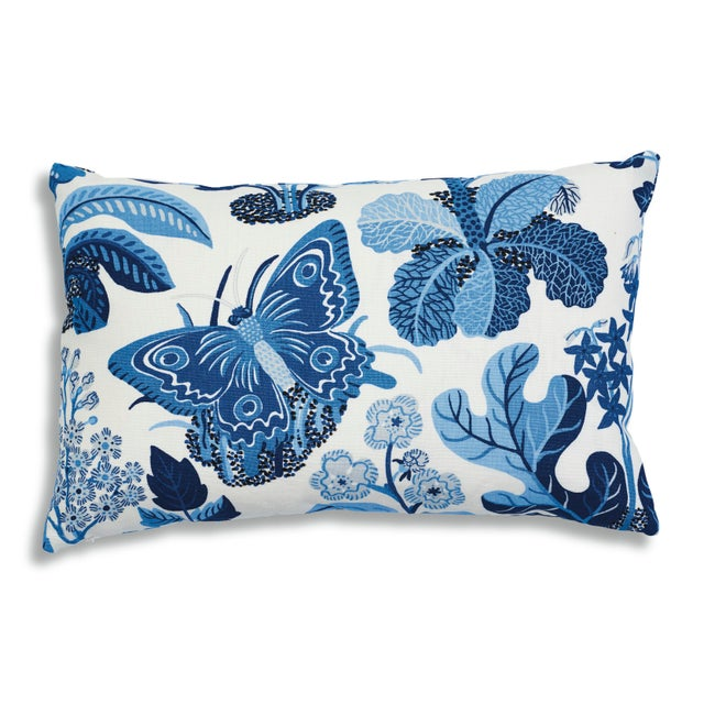 Schumacher X Josef Frank Exotic Butterfly Pillow in Marine For Sale - Image 9 of 9