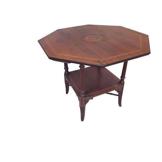 English Inlaid Rosewood Table A - Image 4 of 9