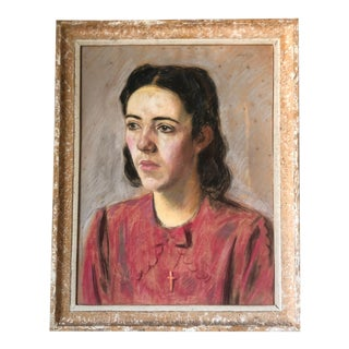 1930s French Portrait of a Woman Oil Pastel Drawing, Framed For Sale