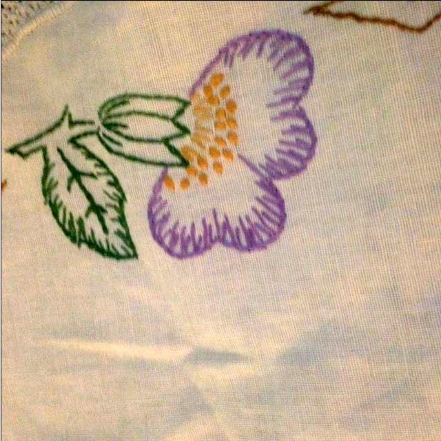 Vintage 1950s Embroidered Doily For Sale - Image 4 of 4