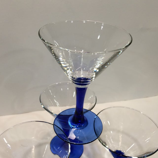 Vintage French Blue Stemmed Crystal Martini Glasses - Set of 4 For Sale - Image 11 of 11