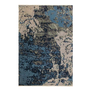 Abstract Modern Raymond Blue/Ivory Wool&Silk Rug - 7'11 X 10'2 For Sale