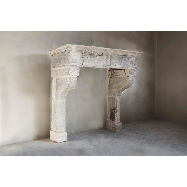 French Antique Limestone Fireplace of French Limestone, Campagnarde Style For Sale - Image 3 of 9