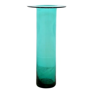 Mid Century Modern Blenko Handmade Blue Green Decorative Art Floor Vase 1970s For Sale