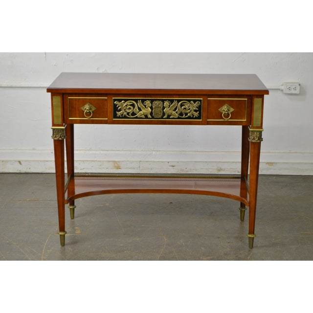 1990s John Widdicomb Neo Classical Style Bronze Mount 1 Drawer Console Table For Sale - Image 5 of 13