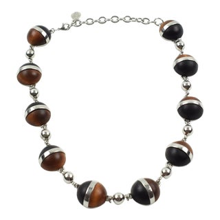 Balenciaga Paris Signed Choker Necklace Chrome and Wood Cabochons For Sale