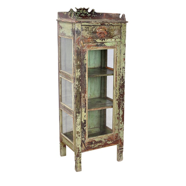 Antique Carved Wood Display Cabinet - Image 1 of 2