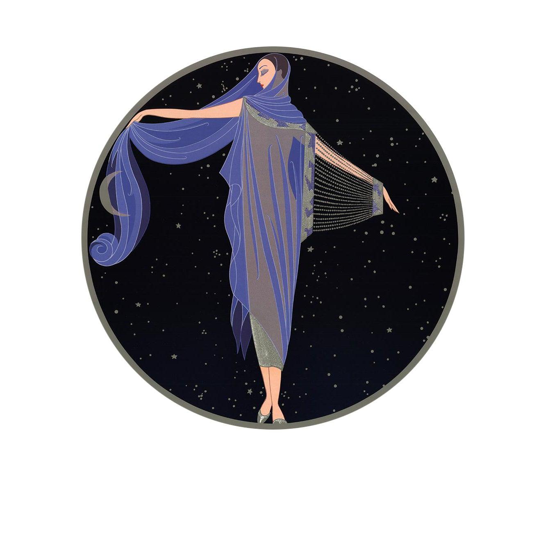 """ERTE Moonlight 20/"""" x 18/"""" Poster 1992 Art Deco Blue Black"""