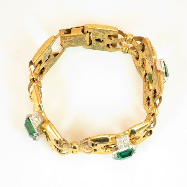 Green Art Deco McClelland Barclay Geometric EmErald Bracelet 1930s For Sale - Image 8 of 11