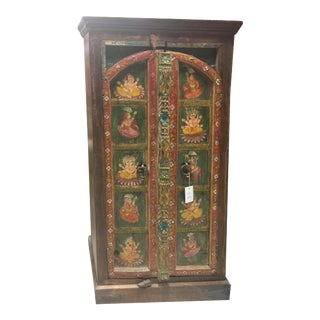 Indian Antique Armoire Chest Hand Painted Arched Door Carved Ganesha Cabinet