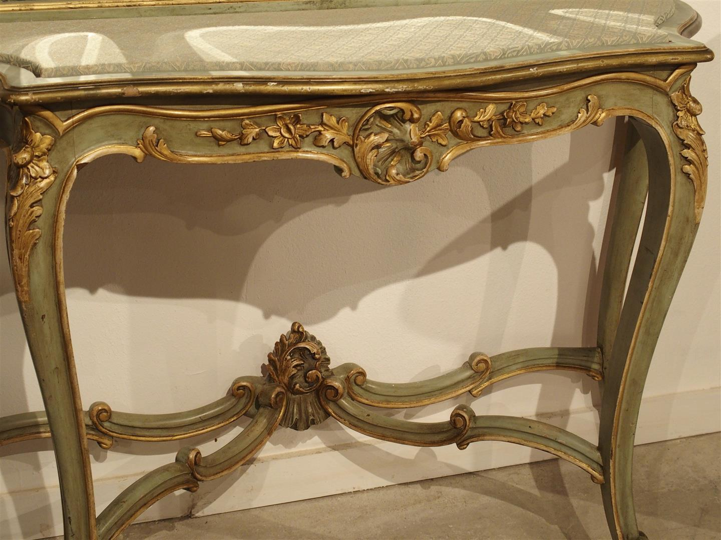 Sophisticated Antique Painted Console Table and Mirror from Italy