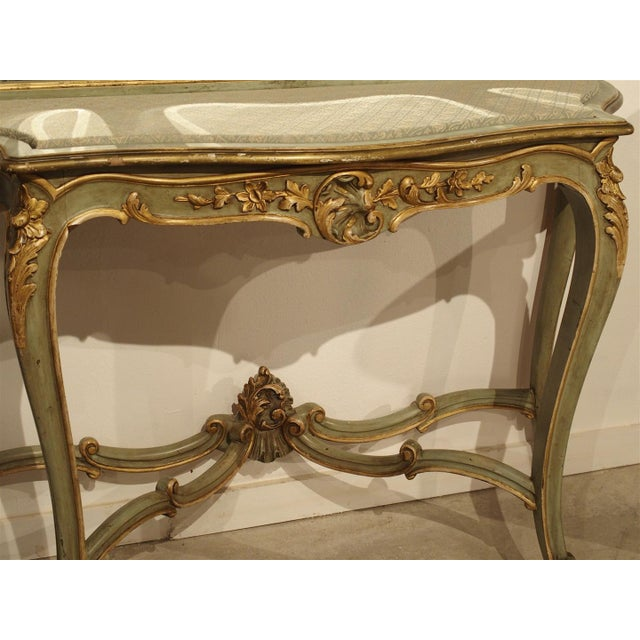 Antique Painted Console Table and Mirror from Italy, Circa 1880 For Sale - Image 9 of 11