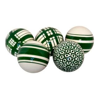 Italian Hand Painted Green & White Porcelain Spheres - Set of 5