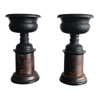 Wooden Turned Vessels on Stand - A Pair For Sale