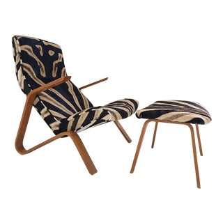 Forsyth Eero Saarinen Grasshopper Chair and Ottoman Restored in Zebra Hide For Sale