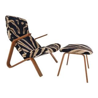 Vintage Eero Saarinen Zebra Hide Chair and Ottoman