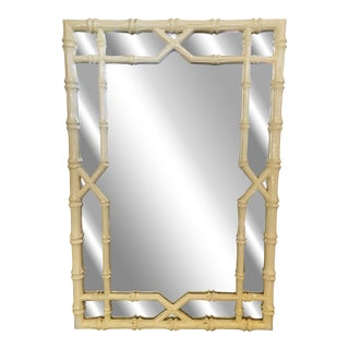 Faux Bois Laquered Bamboo Style Mirror For Sale