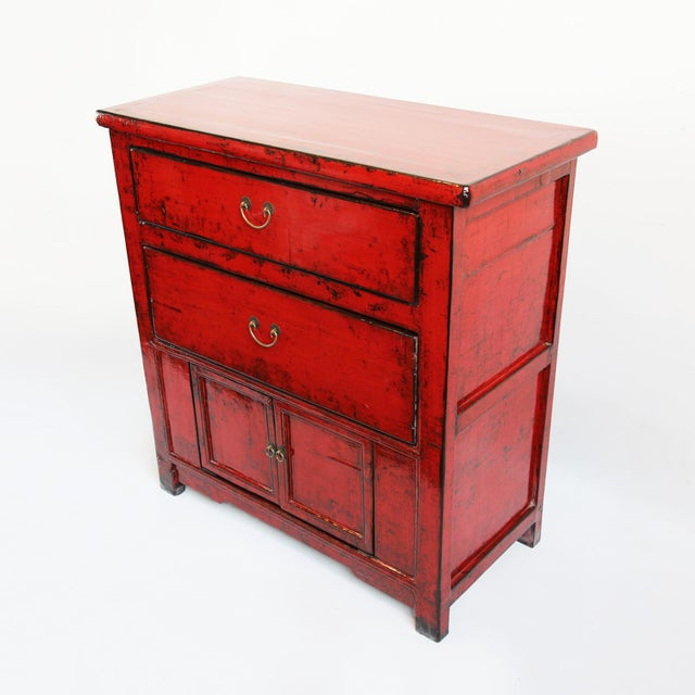 Red Lacquer Side Cabinet - Image 3 of 4