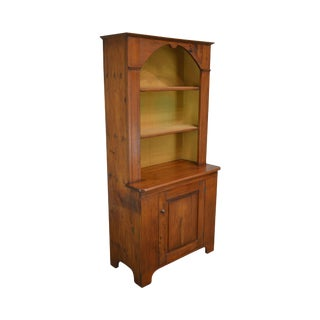 Antique 19th Century Country Pine Bookcase Hutch For Sale