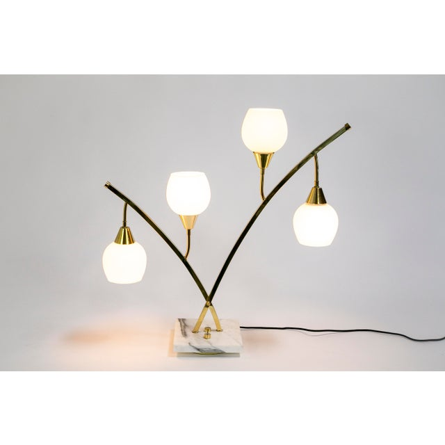 Expansive Narrow Brass & Marble Mid-Century 4-Light Table Lamps W/ Glass Shades For Sale In San Francisco - Image 6 of 10