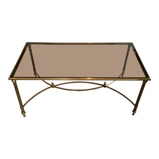 Mid Century Brass & Smoked Glass Coffee Table With Curved Stretcher For Sale