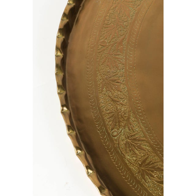 Large Moorish Middle Eastern Hanging Brass Tray Platter For Sale - Image 4 of 6