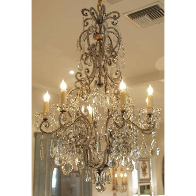 19th C Italian 6 Light Crystal Chandelier with Beaded Arms