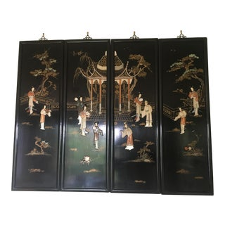Chinese Black Lacquered Wall Screen For Sale