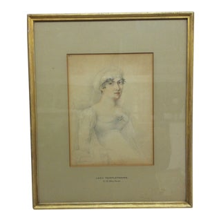 """Antique Pencil & Sanguine on Paper, Framed & Matted -""""Lady Templetowne"""" by George Henry Harlow For Sale"""