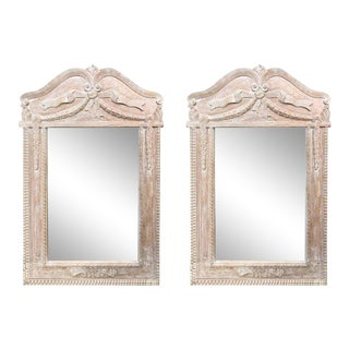 Pretty French Style Bleached Pine Mirrors - A Pair