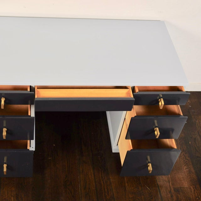 Gray Mid Century Lacquered Double Pedestal Desk For Sale - Image 8 of 10