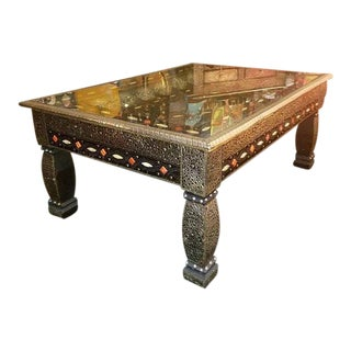 Moroccan Metal Inlaid Coffee Table