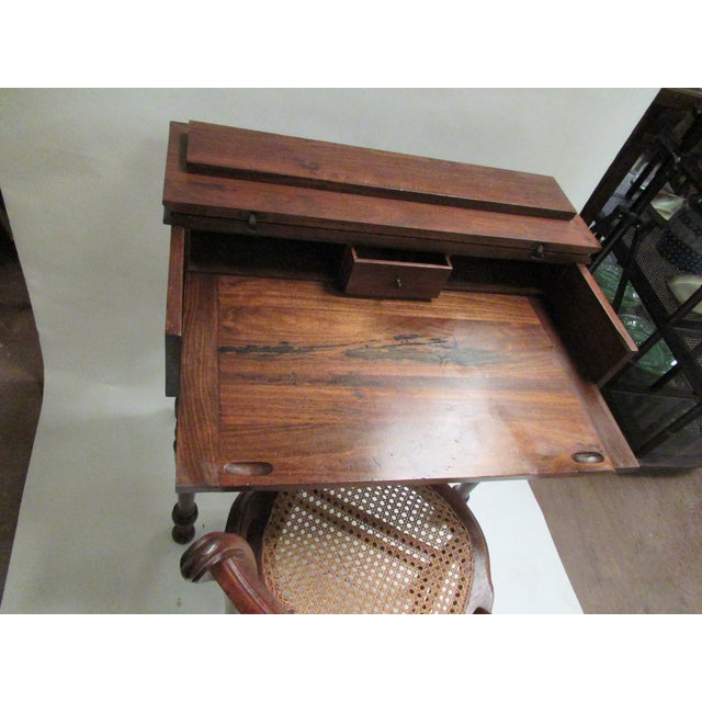1930s Children's Spinet Flip Top Walnut Writing Desk with Caned Chair For Sale - Image 9 of 13