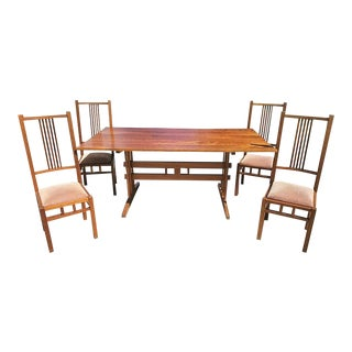 Custom Made Mid Century Danish Modern Solid Wood Dining Set-Table and 4 Chairs For Sale