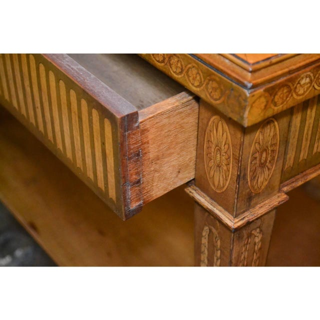 Brown Edwardian Marquetry Inlaid Console Table For Sale - Image 8 of 9