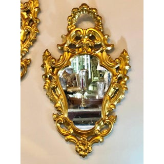 Pair of Small Giltwood Italian Rococo Style Wall Mirrors Preview