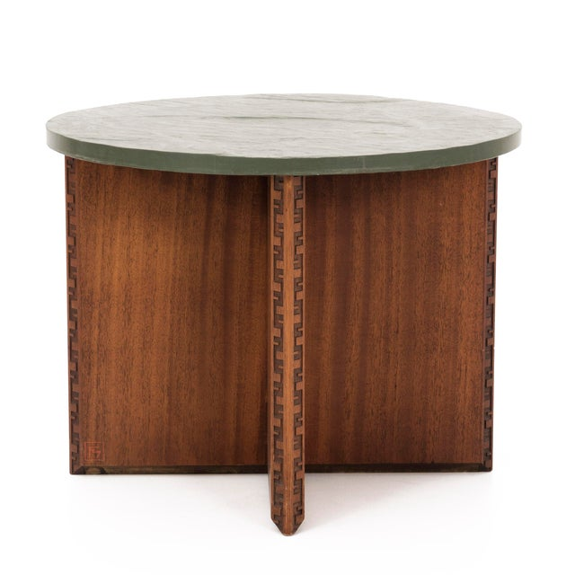 Frank Lloyd Wright for Heritage Henredon Collection. Green slate top on a Mahogany base. Signature Taliesin carving...