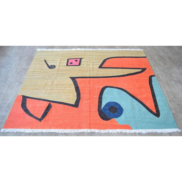 Paul Klee Paul Klee - Silence of the Angel - Inspired Silk Hand Woven Area - Wall Rug 4′6″ × 5′7″ For Sale - Image 4 of 11