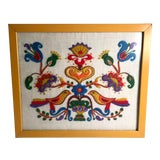 Image of Mid Century Embroidered Framed Art Work For Sale