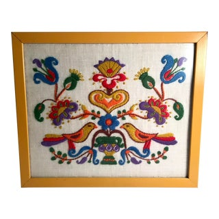 Mid Century Embroidered Framed Art Work For Sale