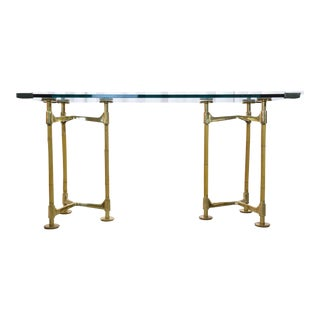 1970s 20th Century Brass Bamboo Desk Gabriella Crespi StyleMid 20th Century For Sale
