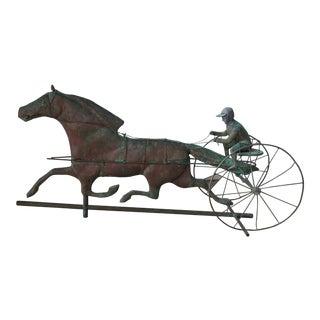 American Antique Copper Jockey & Horse Weather Vane