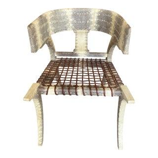 Scala Luxury Lizard Skin Klismos High Back Chair For Sale