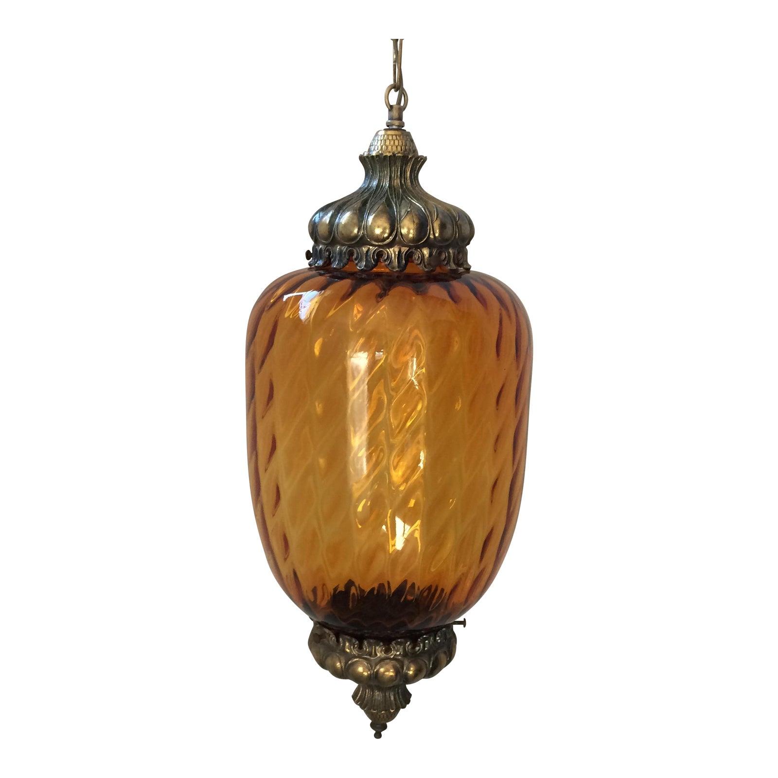 Vintage amber glass swag light