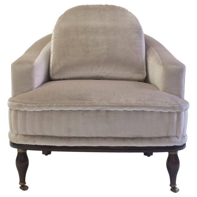 Club Chair With Loose Back Cushion and Hand Rolled Seat and Wood Turned Legs For Sale - Image 13 of 13