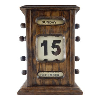 Antique English Wooden Scrolling Perpetual Calendar For Sale