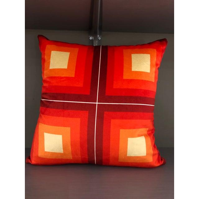 Orange Contemporary Handmade Orange Velvet Geometric Pillow For Sale - Image 8 of 8