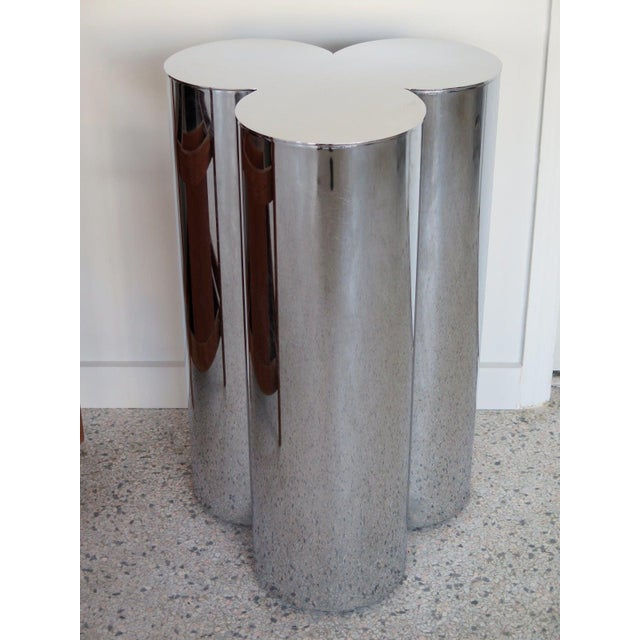 A pair of heavy chrome-plated, stainless steel pedestals by Mastercraft, circa 1960s. Dining table height could be used a...