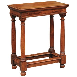 French Empire Style Mid-19th Century Fruitwood Side Table with Doric Column Legs